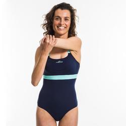 Dames badpak voor aquafitness Anna blauw groen