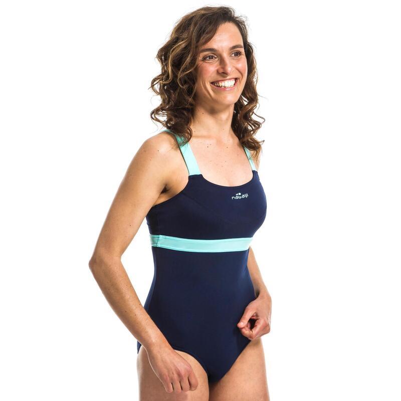 Dámské plavky jednodílné Anna na aqua fitness modro-zelené