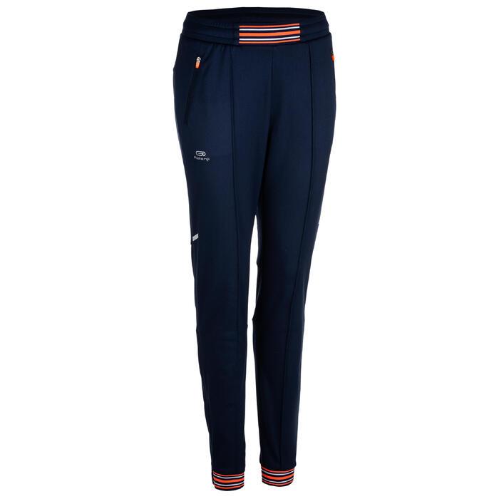 Laufhose lang Leichtathletik Damen blau/orange