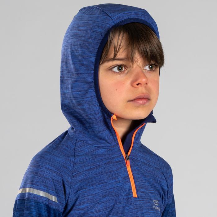 Hardloopshirt lange mouwen met capuchon voor kinderen Kiprun blauw/rood