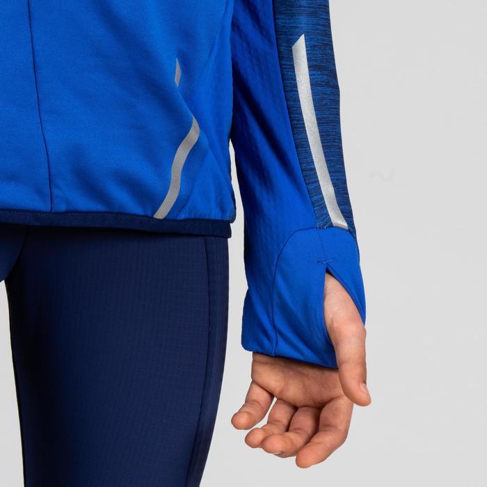 Atletiekshirt met lange mouwen voor kinderen Kiprun blauw/rood