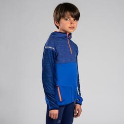 Sportshirt Langarm Leichtathletik Kiprun warm Kinder blau/rot