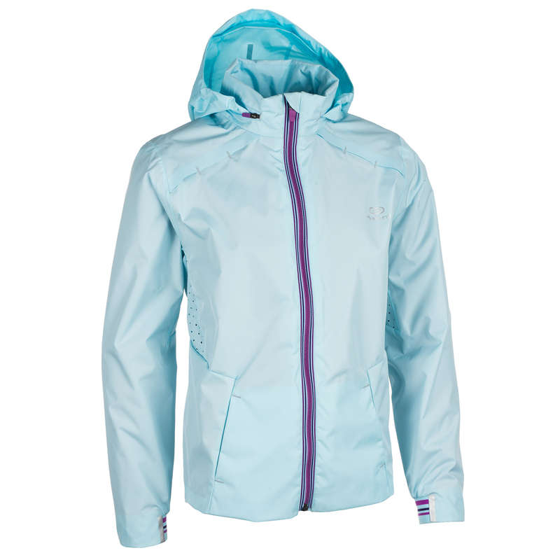 KIDS ATHLETICS CLOTHES ACCESS Clothing - GIRLS' RAIN JACKET - LT BLUE KALENJI - By Sport