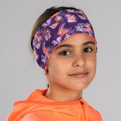 Omkeerbare atletiekhoofdband voor kinderen met print paars/fluokoraal