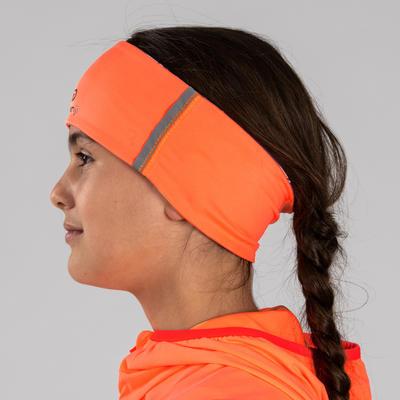 Дитяча двостороння пов'язка на голову - Фіолетова/Неоново-коралова з принтом