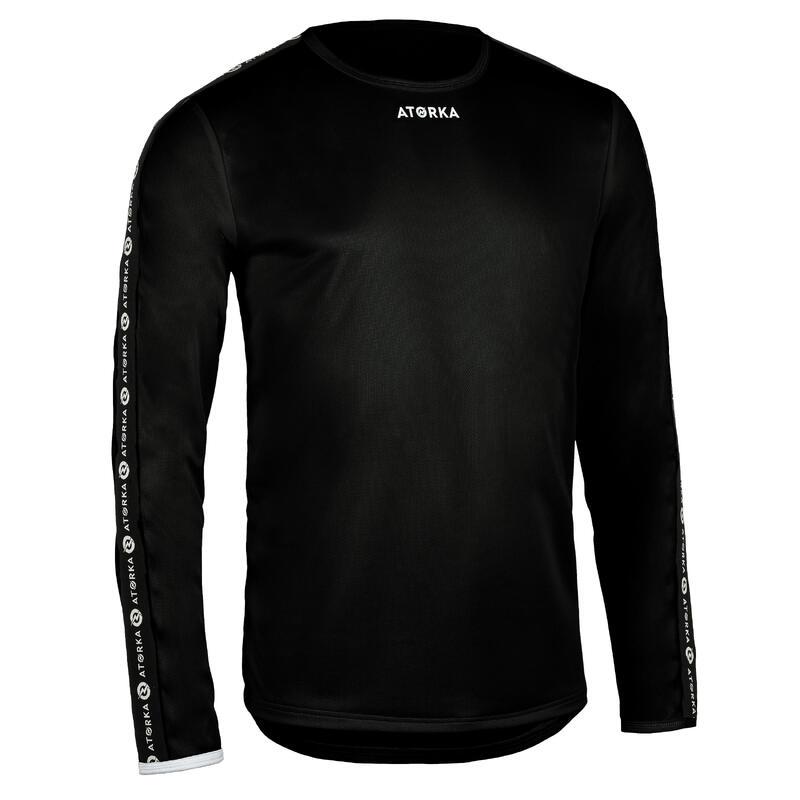 Camiseta Balonmano Atorka H100C Manga Larga Niños negro blanco