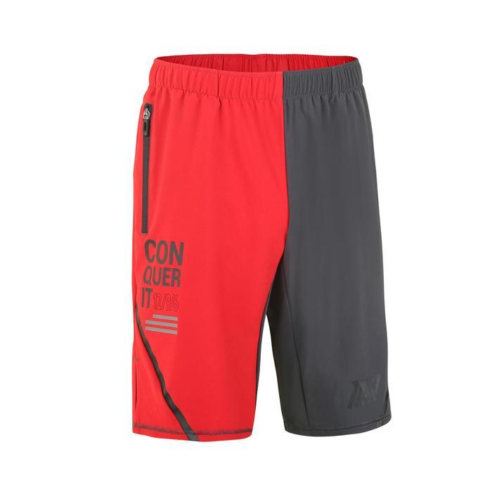 男款交叉訓練短褲500m-灰色/紅色