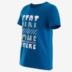 T-shirt manches courtes 100 garçon GYM ENFANT bleu imprimé blanc