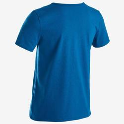 Gym T-shirt met korte mouwen voor jongens 100 blauw met witte print