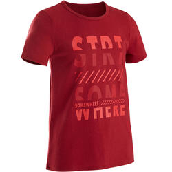 100 Boys' Half-Sleeved Gym T-Shirt - Red Print
