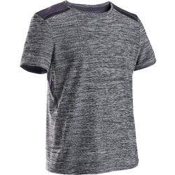 Ademend synthetisch gymshirt met korte mouwen voor jongens S500 grijs