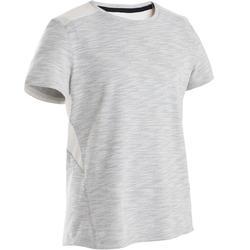 Gymshirt met korte mouwen voor jongens 500 katoen ademend beige