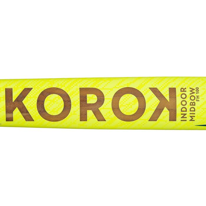 Zaalhockeystick voor beginnende volwassenen hout/glasvezel mid bow FH100 geel
