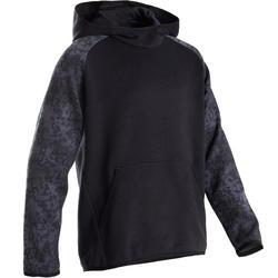 Warme hoodie voor gym jongens 100 zwart/print