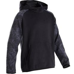 Warme hoodie voor jongens, voor gym, 100 zwart met print