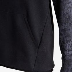 Kapuzenpullover warm 100 Gym Kinder schwarz bedruckt