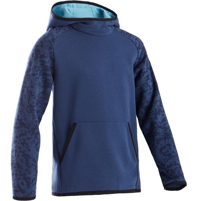 Warme hoodie voor gym jongens 100 blauw/print
