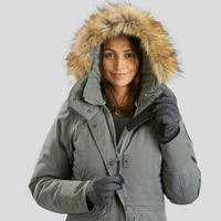 Women's Snow Hiking Jacket SH500 Ultra-Warm - Khaki