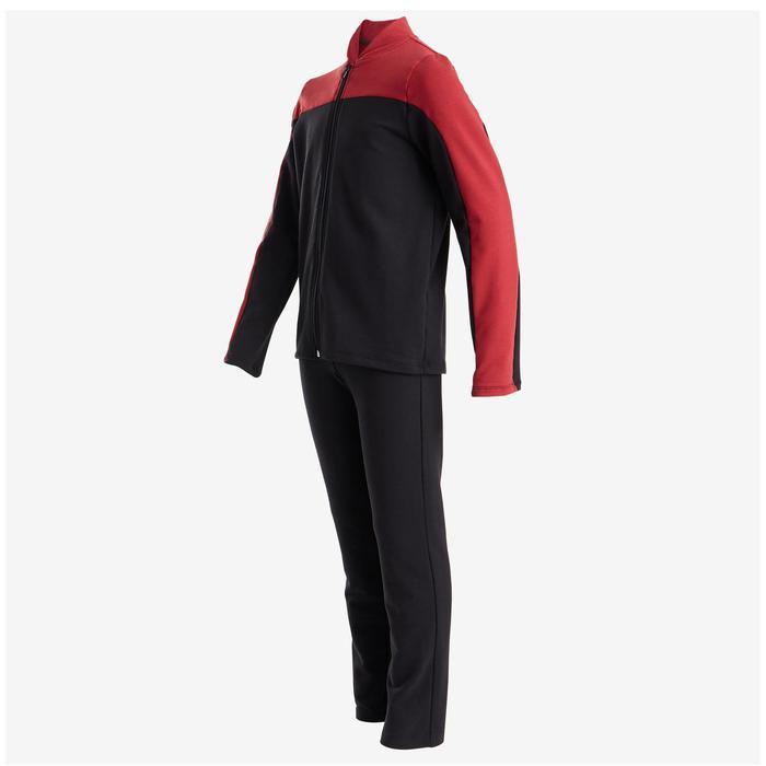 Warm trainingspak voor jongens 100 zwart en bordeaux, met zwarte broek