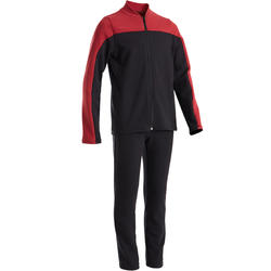 100 Boys' Warm Gym Tracksuit - Black/Burgundy with Black Bottoms