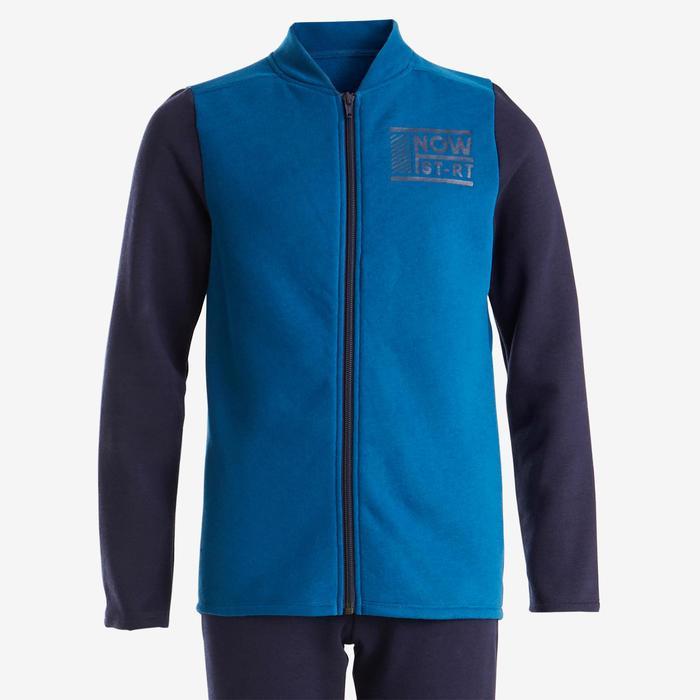 Warm trainingspak voor jongens, voor gym, 100 blauw/marineblauw Warmy zip