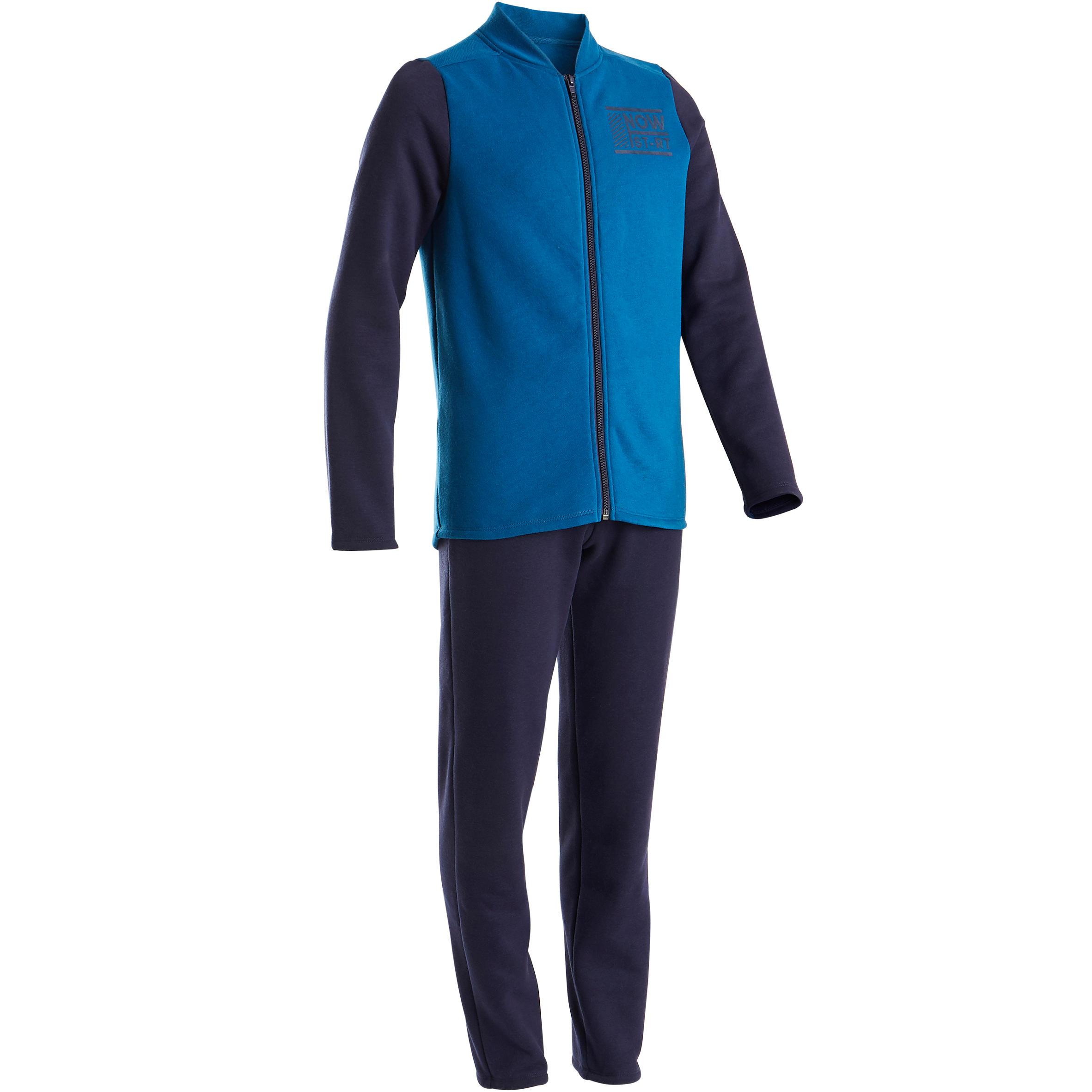 100 Warmy Boys' Warm Zip-Up Gym Tracksuit - Blue/Navy