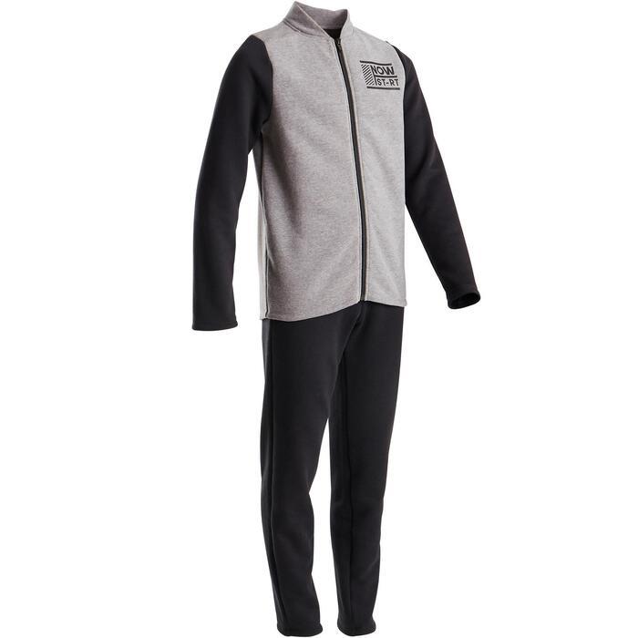 Jogginganzug warm 100 GYM Kinder grau/schwarz Warm'Y Zip