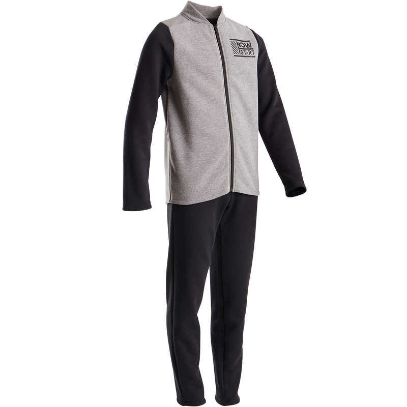 BOY EDUCATIONAL GYM COLD WEATHER APP Fitness and Gym - 100 Warmy Boys' Gym Tracksuit DOMYOS - Gym Activewear