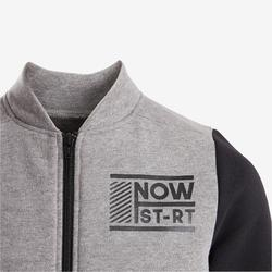 Warm trainingspak voor jongens 100 grijs/zwart Warmy Zip