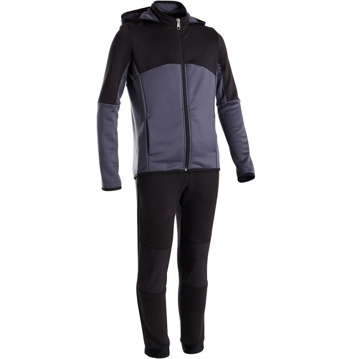 Trainingsanzug warm, Synthetik atmungsaktiv S500 Gym Kinder grauschwarz