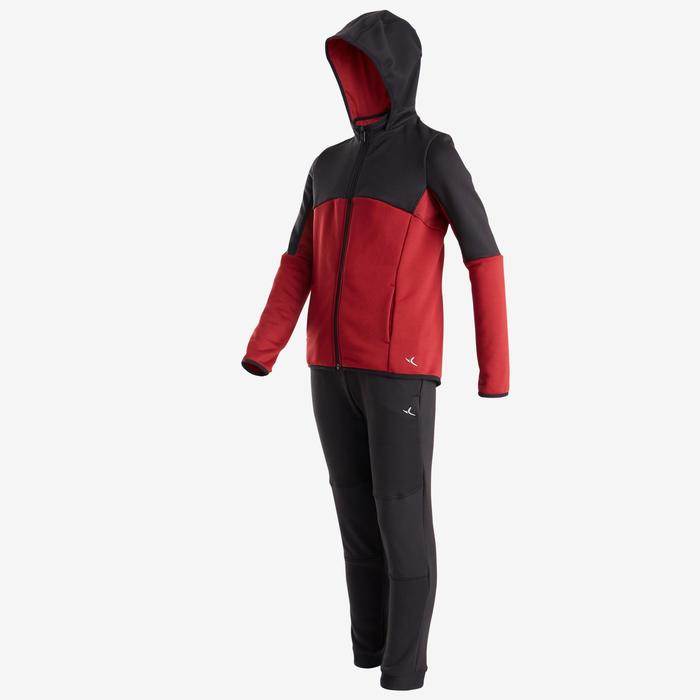 S500 Boys' Warm Regular-Fit Breathable Synthetic Gym Tracksuit - Black/Red