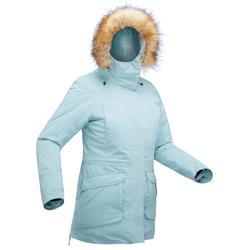 女款極致保暖雪地健行外套SH500-淺湖水藍