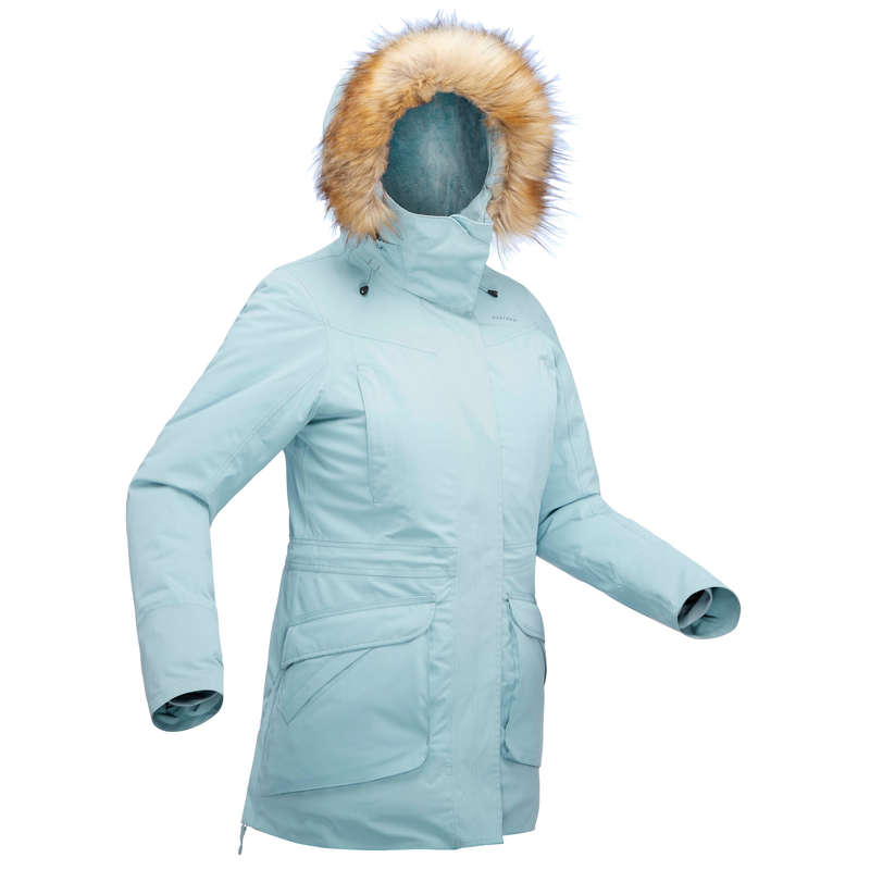WOMEN SNOW HIKING WARM JACKETS Hiking - SH500 Parka Women's Waterproof Jacket - Ice Blue QUECHUA - Hiking Jackets