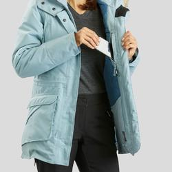 Parka chaude imperméable de randonnée neige femme SH500 ultra-warm ice-bleu