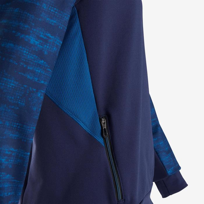 Warme gymsweater met capuchon jongens S500 ademend blauw
