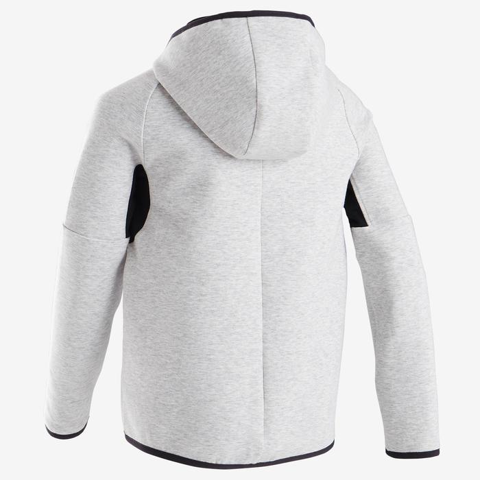 Veste capuche chaude, coton respirant 500, garçon GYM ENFANT gris chiné clair