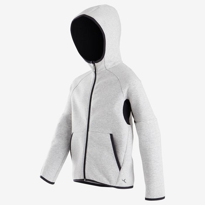 500 Boys' Warm Breathable Cotton Hooded Jacket - Mottled Light Grey