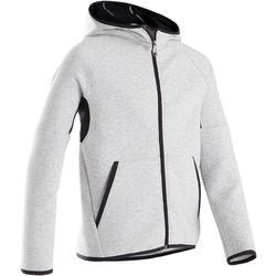 Warme en ademende hoodie met rits gym jongens 500 katoen gemêleerd lichtgrijs
