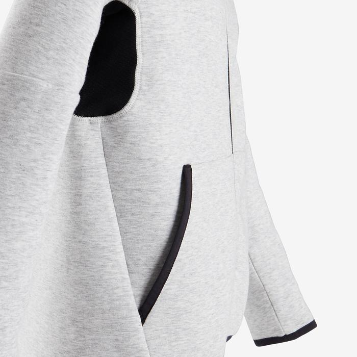 Warme ademende hoodie met rits voor gym jongens 500 katoen gemêleerd lichtgrijs