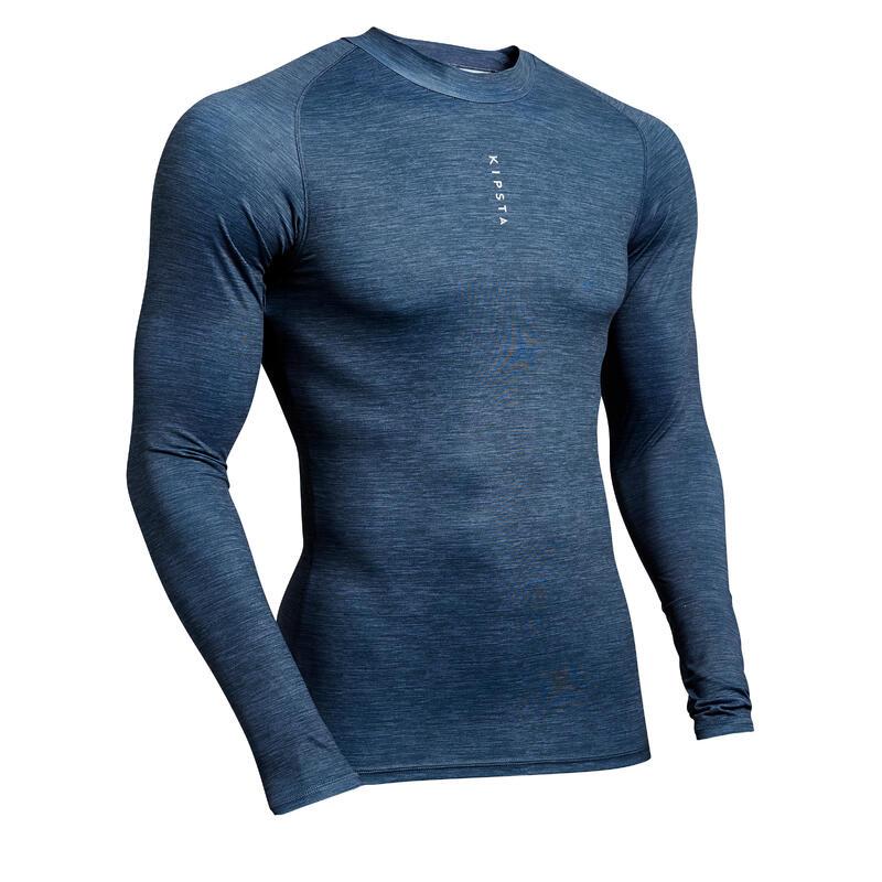 Sous-vêtement haut Keepdry 100 adulte manches longues football gris chiné