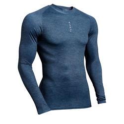 Sous-vêtement haut Keepdry 100 homme manches longues football gris chiné
