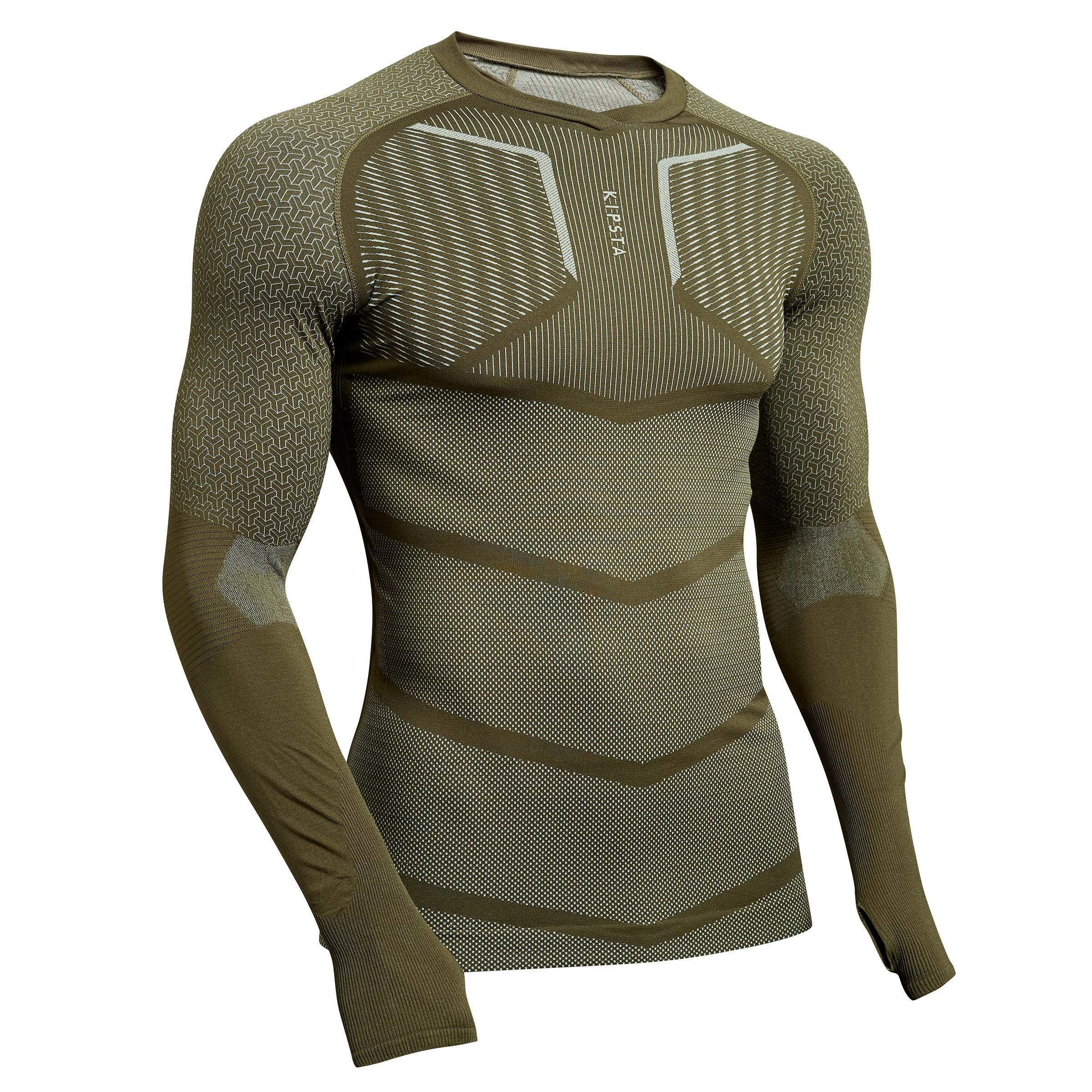 Funktionsshirt langarm Keepdry 500 atmungaktiv Erwachsene khaki | Bekleidung > Shirts > Funktionsshirts | Grün - Khaki | Kipsta