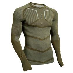 Thermoshirt Keepdry 500 lange mouw unisex kaki