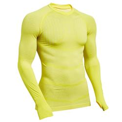 Ondershirt voor voetbal heren Keepdry 500 lange mouwen geel