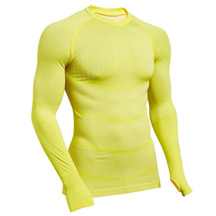 Ondershirt voor voetbal volwassenen Keepdry 500 geel