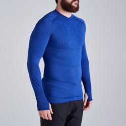 Thermoshirt Keepdry 500 lange mouw gemêleerd blauw unisex