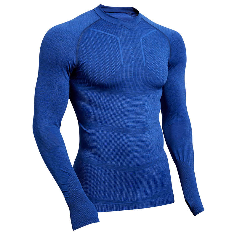 UNDERWEAR TEAM SPORT SENIOR Football - Keepdry 500 Adult Mottled Blue KIPSTA - Football Clothing