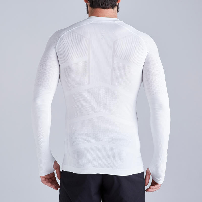 Men's Long-Sleeved Football Base Layer Top Keepdry 500 - White