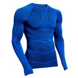 Adult Football Long-Sleeved Base Layer Top Keepdry 500 - Indigo Blue