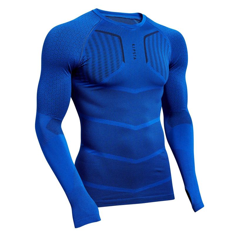 Sous-vêtement haut Keepdry 500 homme manches longues football bleu indigo